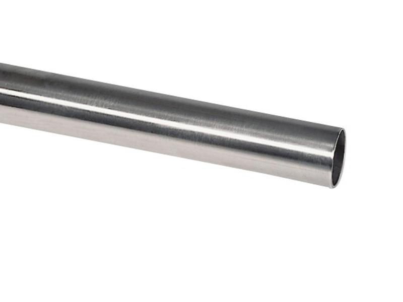 Edelstahl Handlauf V2A 42,4mm 240K geschliffen Wandhandlauf mit leicht gew/ölbter Endkappe 4500 mm UNGETEILT